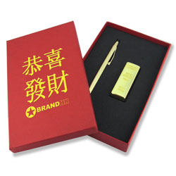 Gold Cross Pen with USB Set