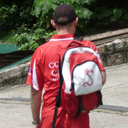 PersonalizedBackpack - red and white.