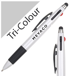 Personalized - Tri-colour pen with Stylus