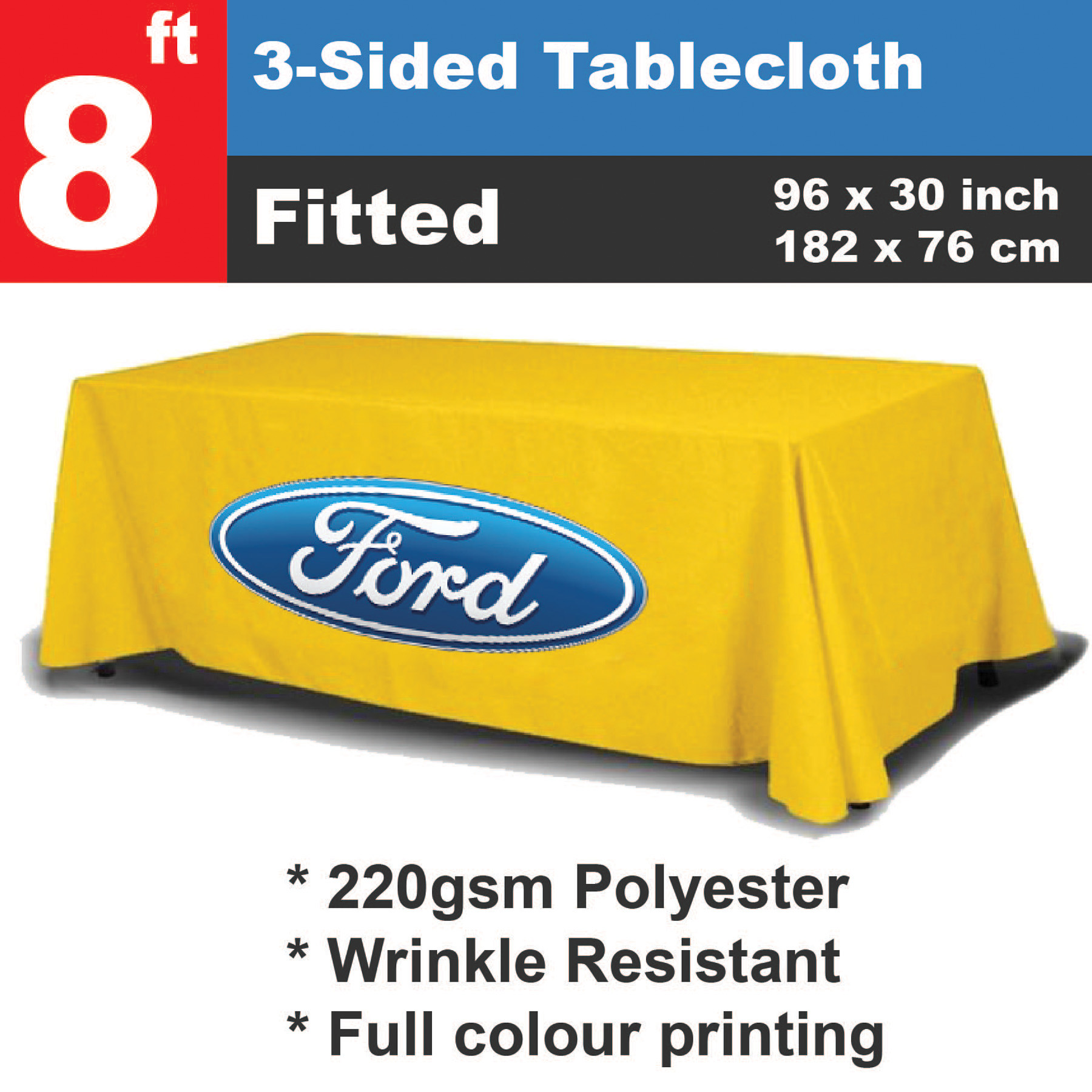 Personalized - 8ft Custom Printed Tablecloth