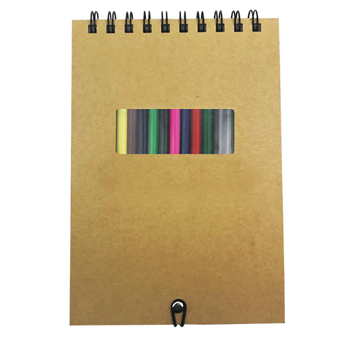 Personalized - A5 Notebook with Coloured Pencils